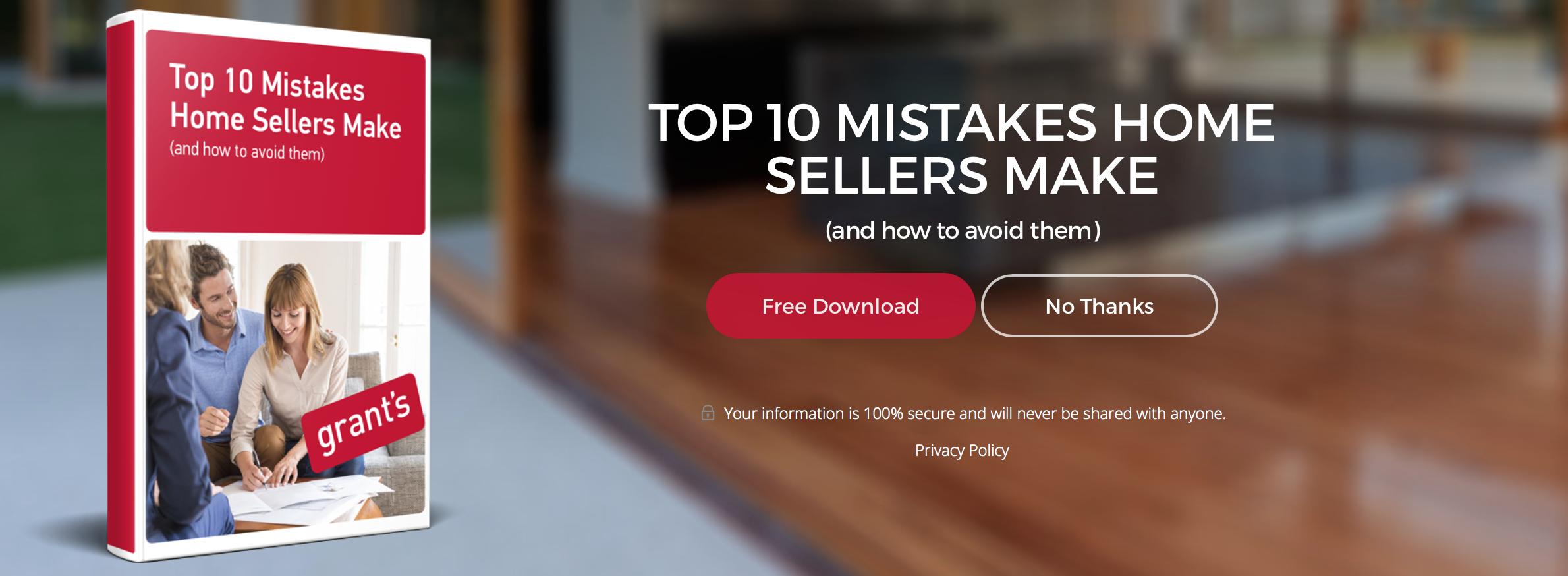 Download ebook – Top 10 Homeseller mistakes